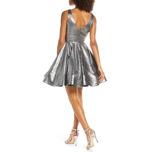 マックダガル レディース ワンピース トップス Metallic FitFlare Cocktail Dress SterTF1J3lKc