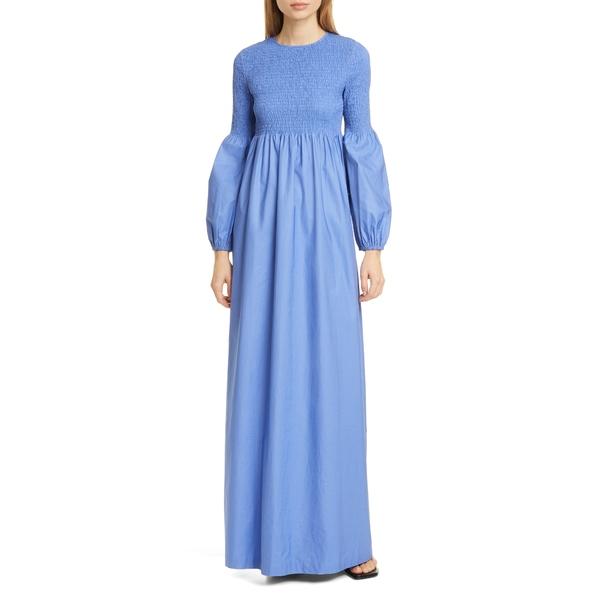 ロジャー レディース ワンピース トップス Sandy Smocked Bodice Long Sleeve Maxi Dress Blue Pearl