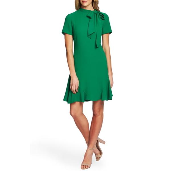 セセ レディース ワンピース トップス Bow Neck Short Sleeve Dress Lush Green