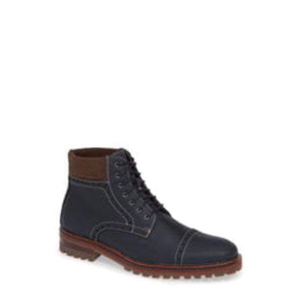 ジョンストンアンドマーフィー メンズ ブーツ&レインブーツ シューズ J&M 1850 'Karnes' Brogue Cap Toe Boot Navy Leather