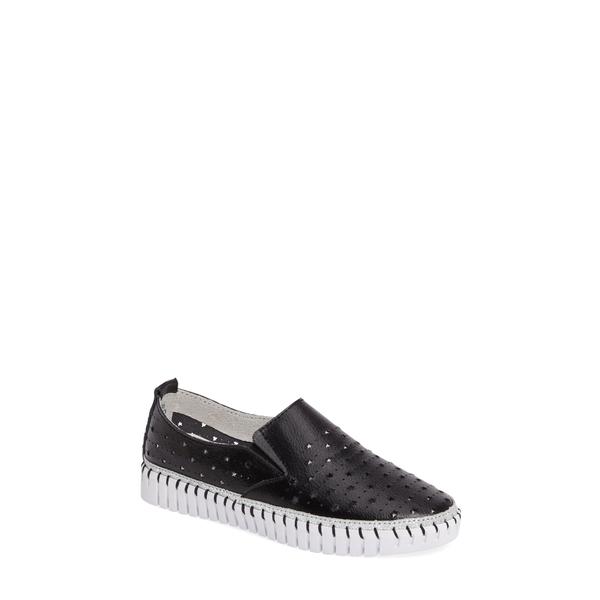 バーニーメブ レディース スニーカー シューズ TW40 Slip-On Sneaker Black Leather