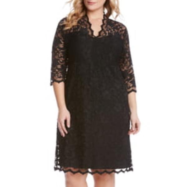 カレンケーン レディース ワンピース トップス Scalloped Stretch Lace Dress Black