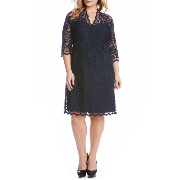 カレンケーン レディース ワンピース トップス Scalloped Stretch Lace Dress Navy