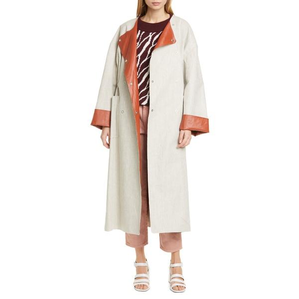 ロジャー レディース コート アウター Portia Faux Leather Lined Linen Blend Coat Sand