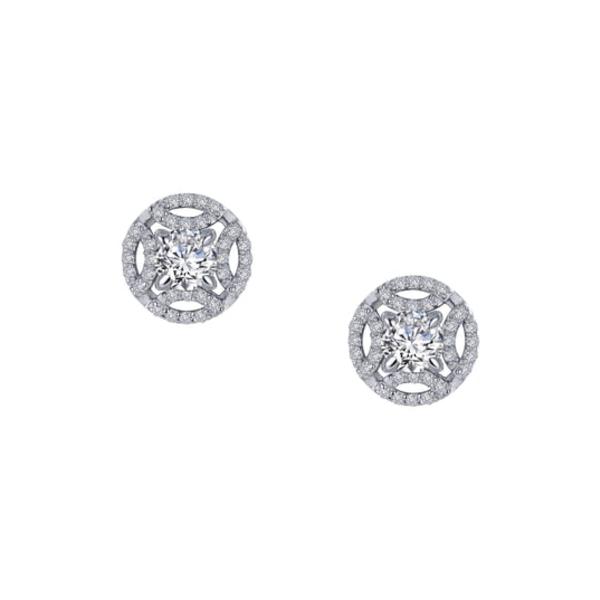 ラフォン レディース ピアス&イヤリング アクセサリー Simulated Diamond Button Earrings Clear/ Silver