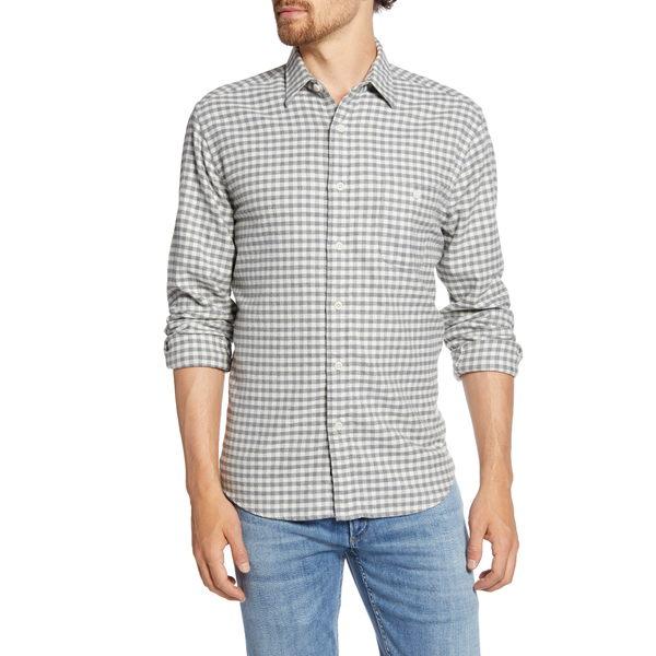 ファエティ メンズ シャツ トップス Stretch Seaview Regular Fit Check Flannel Button-Up Shirt Cream Charcoal Gingham