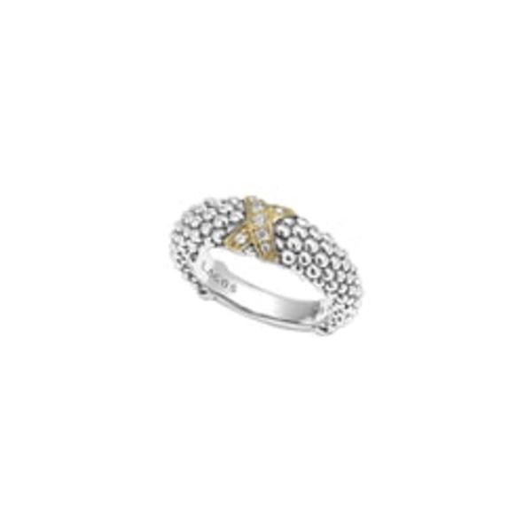 ラゴス レディース リング アクセサリー 'X' Diamond & Caviarュ ' Two Tone Ring Silver/ Gold