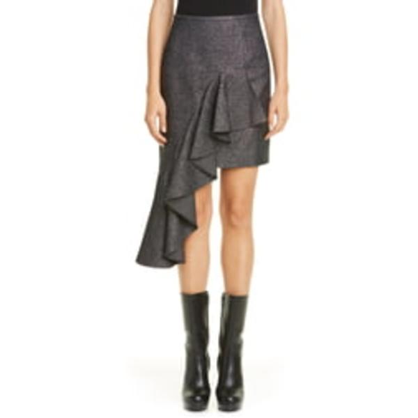 マイケル コース レディース スカート ボトムス Michael Kors Cascade Asymmetrical Metallic Miniskirt Silver/ Black