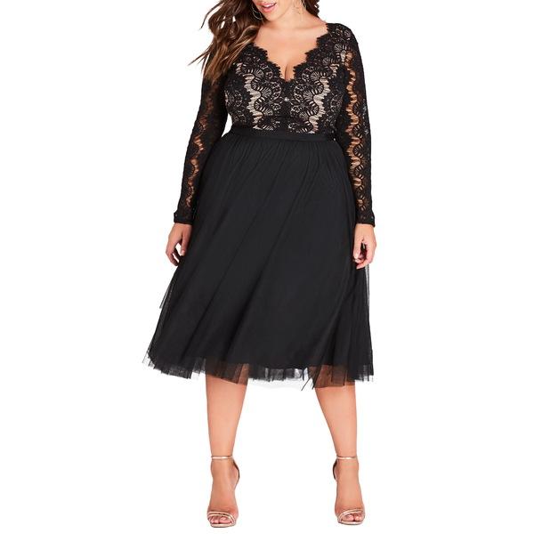 シティーシック レディース ワンピース トップス Rare Beauty Lace Fit & Flare Dress Black