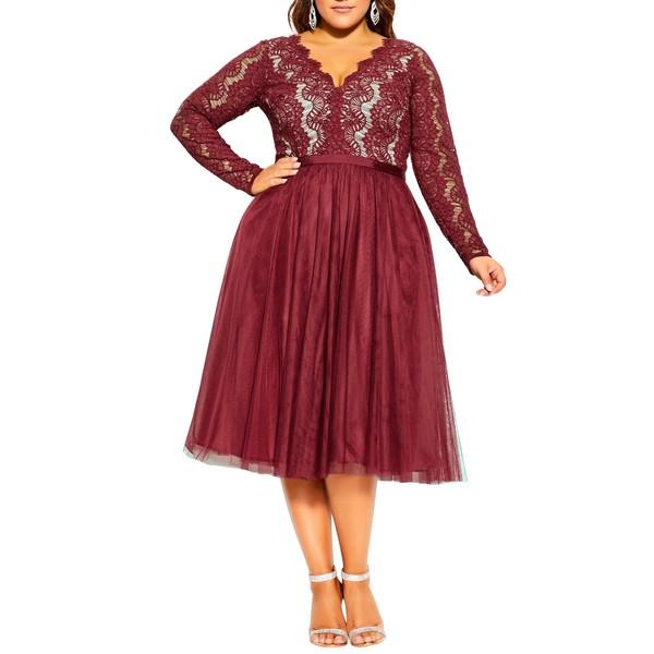 シティーシック レディース ワンピース トップス Rare Beauty Lace Fit & Flare Dress Merlot