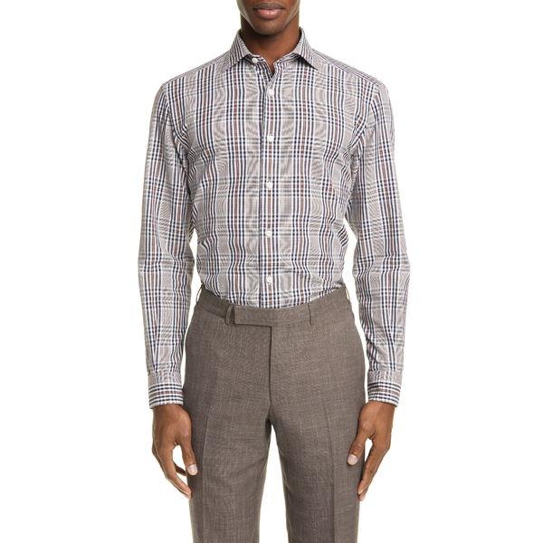 エルメネジルド・ゼニア メンズ シャツ トップス Classic Fit Plaid Cotton & Linen Button-Up Shirt Blue