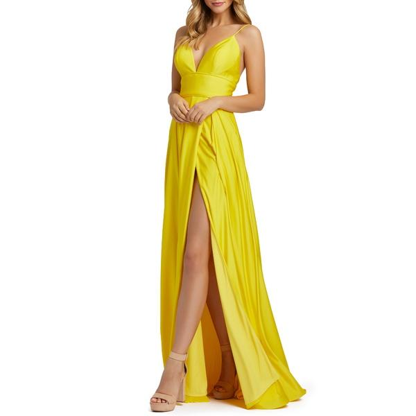 マックダガル レディース ワンピース トップス Plunge Neck Pleated Gown Sunshine