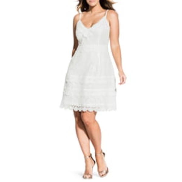 シティーシック レディース ワンピース トップス Nouveau Cotton Blend Lace Fit & Flare Dress Ivory