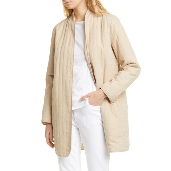 エイリーンフィッシャー レディース ジャケット&ブルゾン アウター Quilted Linen Blend Long Jacket Khaki