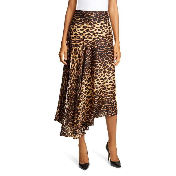 エーエルシー レディース スカート ボトムス Lev Leopard Print Asymmetrical Stretch Silk Midi Skirt Brown Multi