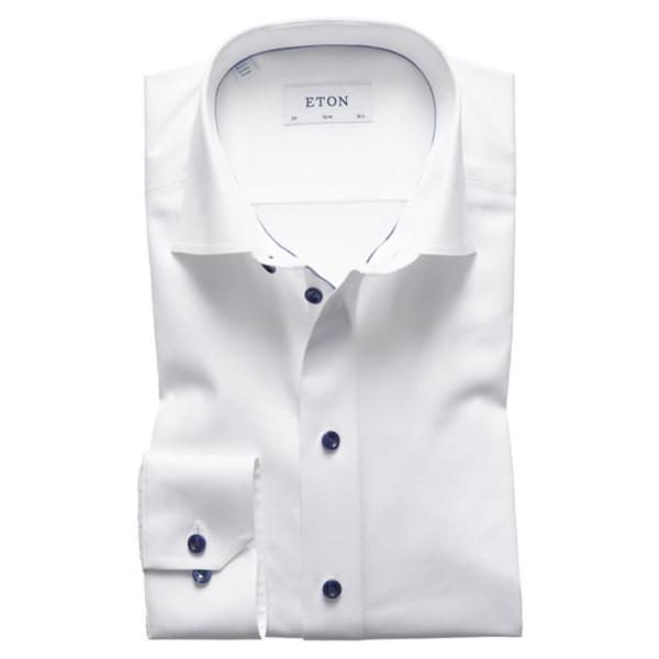 エトン メンズ シャツ トップス Slim Fit Twill Dress Shirt with Grey Details White/ Navy