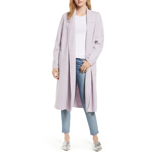 ソスケン レディース コート アウター Heidi Ribbed Brushed Knit Coat Lavender