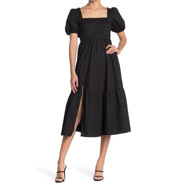 レディース トップス Dress Poplin アストール Maxi BLACK Tiered ワンピース