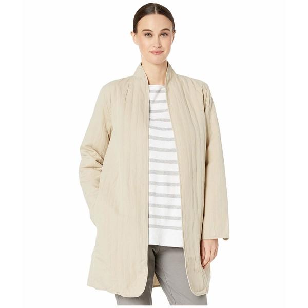 エイリーンフィッシャー レディース コート アウター Quilted Tencel & Linen High Back Neck Long Jacket Khaki