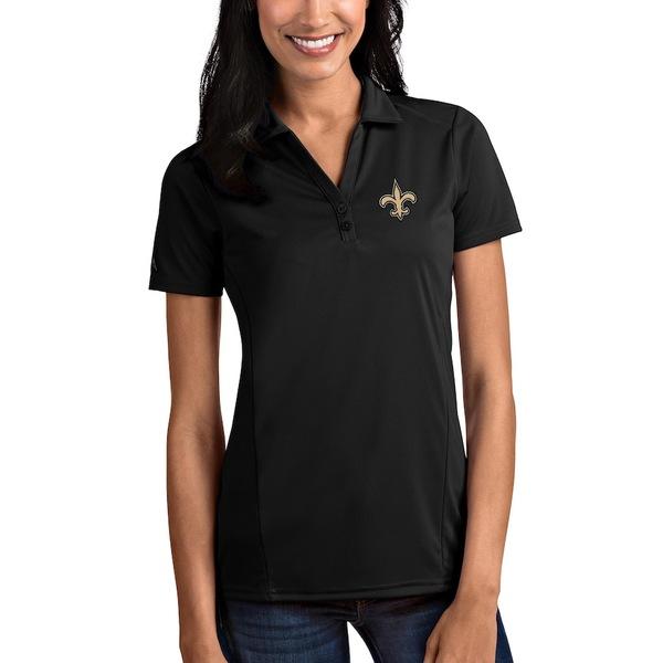 アンティグア レディース ポロシャツ トップス New Orleans Saints Antigua Women's Tribute Polo Black
