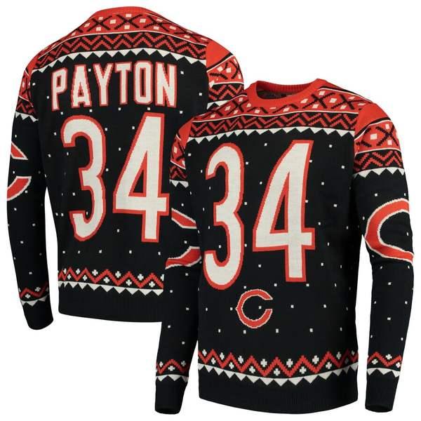 フォコ メンズ シャツ トップス Walter Payton Chicago Bears Retired Player Name & Number Crewneck Sweater Navy