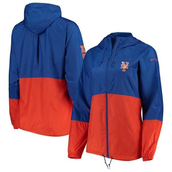コロンビア レディース ジャケット&ブルゾン アウター New York Mets Columbia Women's Flash Forward Windbreaker Jacket Royal/Orange