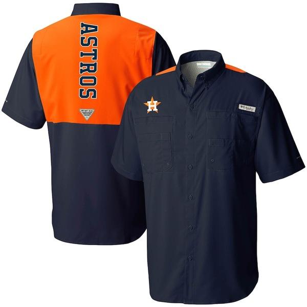 コロンビア メンズ シャツ トップス Houston Astros Columbia Colorblocked Tamiami Omni-Shade Button-Up Shirt Navy/Orange