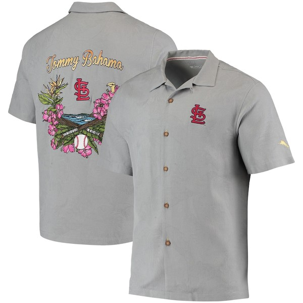 トッミーバハマ メンズ シャツ トップス St. Louis Cardinals Tommy Bahama Bay Back Panel Button-Up Shirt Gray