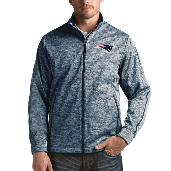 アンティグア メンズ ジャケット&ブルゾン アウター New England Patriots Antigua Full-Zip Golf Jacket Heathered Navy