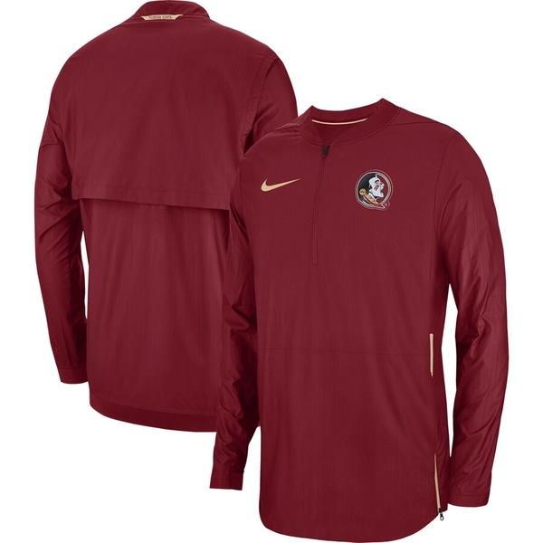 ナイキ メンズ ジャケット&ブルゾン アウター Florida State Seminoles Nike 2018 Sideline Lockdown Half-Zip Jacket Garnet