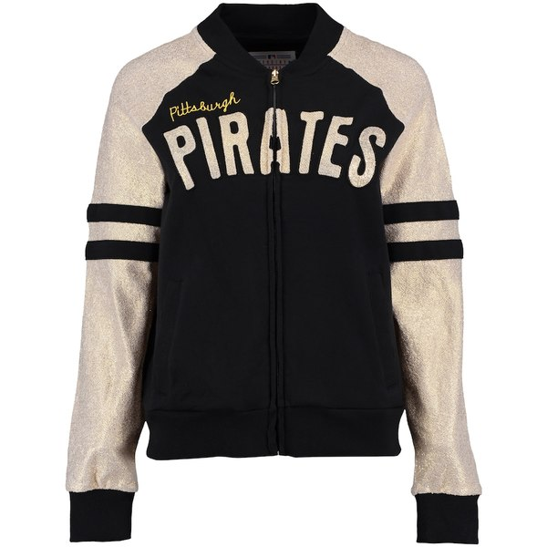 カールバンクス レディース ジャケット&ブルゾン アウター Pittsburgh Pirates G-III Sports by Carl Banks Women's Wild Card Varsity Full-Zip Jacket Black/Gold