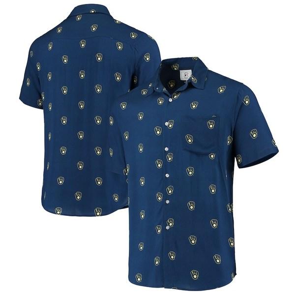フォコ メンズ シャツ トップス Milwaukee Brewers Mini Print Logo Button-Up Shirt Navy