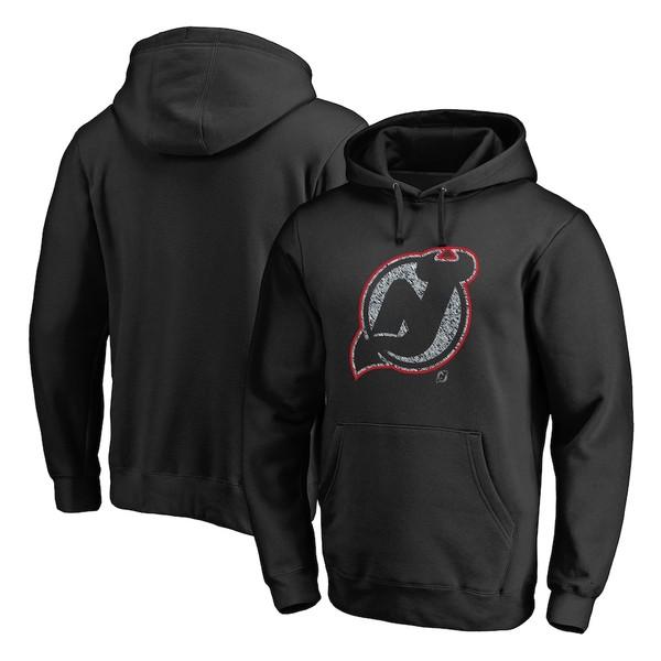 ファナティクス メンズ パーカー・スウェットシャツ アウター New Jersey Devils Fanatics Branded Static Logo Pullover Hoodie Black
