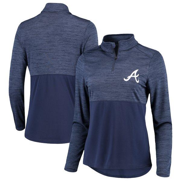 ファナティクス レディース ジャケット&ブルゾン アウター Atlanta Braves Fanatics Branded Women's Quarter-Zip Pullover Jacket Navy