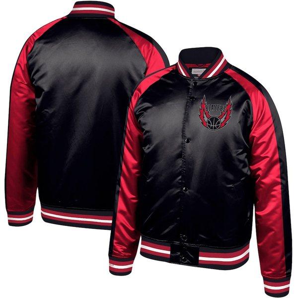 ミッチェル&ネス メンズ ジャケット&ブルゾン アウター Portland Trail Blazers Mitchell & Ness Hardwood Classics Colorblock Satin Raglan Full-Snap Jacket Black