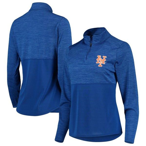 ファナティクス レディース ジャケット&ブルゾン アウター New York Mets Fanatics Branded Women's Quarter-Zip Pullover Jacket Royal