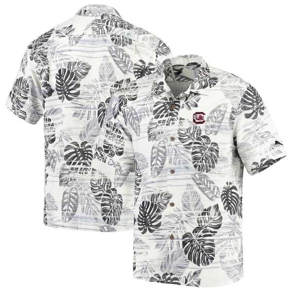 トッミーバハマ メンズ シャツ トップス South Carolina Gamecocks Tommy Bahama Super Fan Camp Shirt White/Black