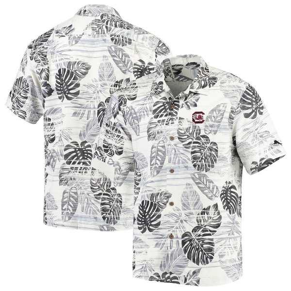 トッミーバハマ メンズ シャツ トップス South Carolina Gamecocks Tommy Bahama Super Fan Camp Shirt White/Black