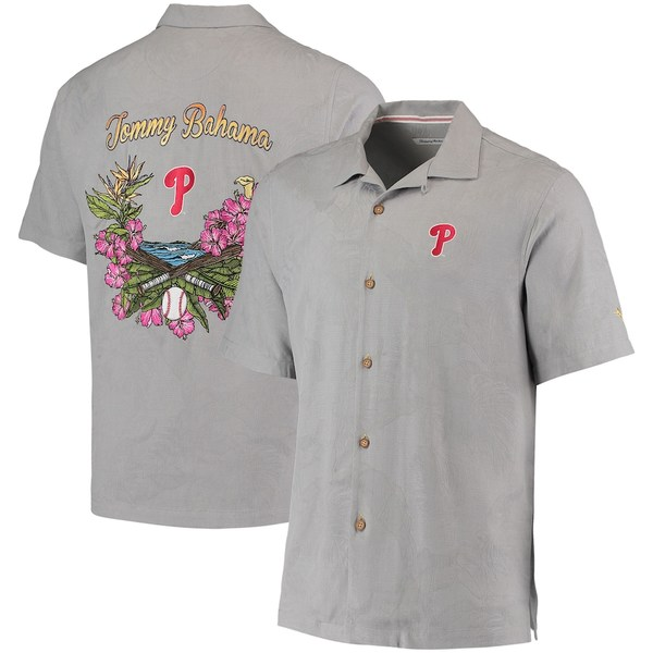 トッミーバハマ メンズ シャツ トップス Philadelphia Phillies Tommy Bahama Bay Back Panel Button-Up Shirt Gray