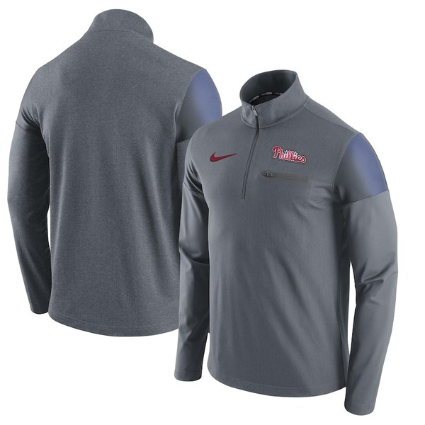 ナイキ メンズ ジャケット&ブルゾン アウター Philadelphia Phillies Nike Elite Half-Zip Pullover Jacket Gray
