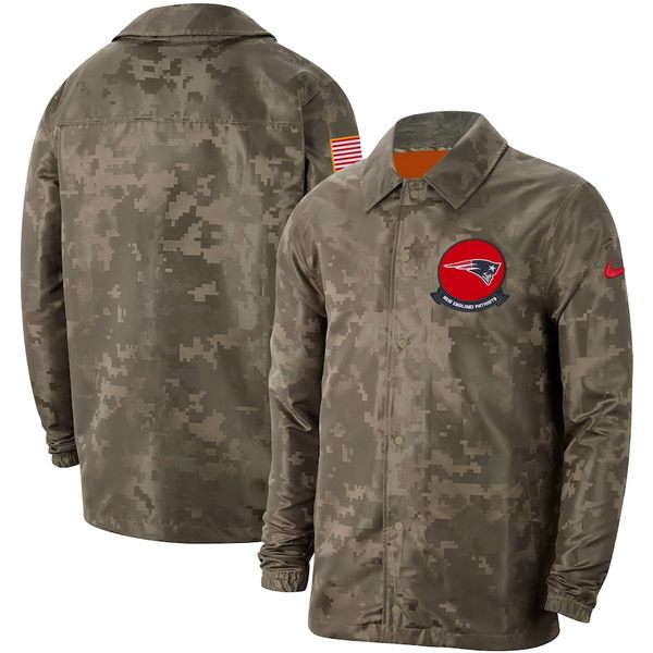 ナイキ メンズ ジャケット&ブルゾン アウター New England Patriots Nike 2019 Salute to Service Sideline Full-Snap Lightweight Jacket Camo