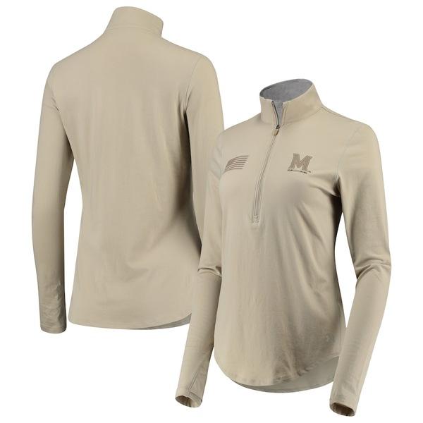 アンダーアーマー レディース ジャケット&ブルゾン アウター Maryland Terrapins Under Armour Women's Military Appreciation Tri-Blend Performance Half-Zip Sweatshirt Tan