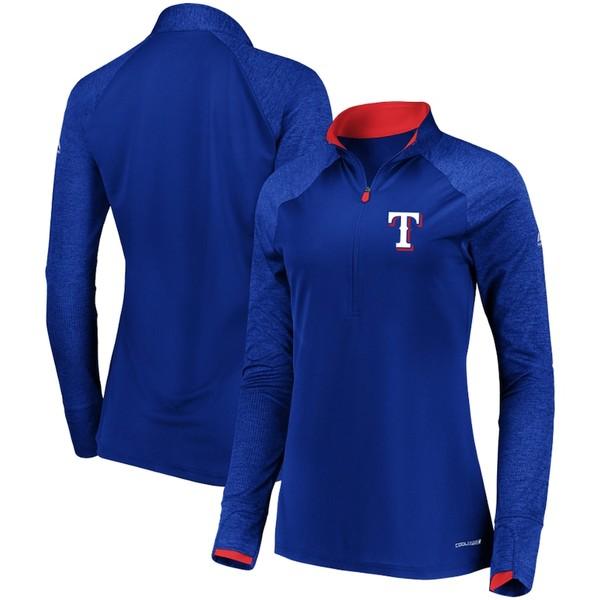 マジェスティック レディース ジャケット&ブルゾン アウター Texas Rangers Majestic Women's Extremely Clear Cool Base Raglan 1/2-Zip Jacket Royal