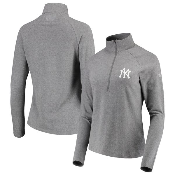 アンダーアーマー レディース ジャケット&ブルゾン アウター New York Yankees Under Armour Women's Passion Performance Tri-Blend Raglan Half-Zip Pullover Jacket Heathered Gray