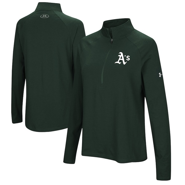 アンダーアーマー レディース ジャケット&ブルゾン アウター Oakland Athletics Under Armour Women's Passion Performance Tri-Blend Raglan Half-Zip Pullover Jacket Green
