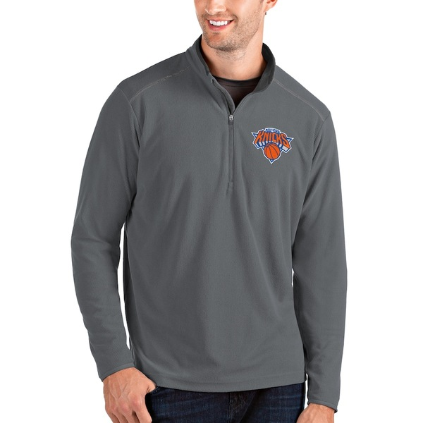 アンティグア メンズ ジャケット&ブルゾン アウター New York Knicks Antigua Big & Tall Glacier Quarter-Zip Pullover Jacket Gray/Gray