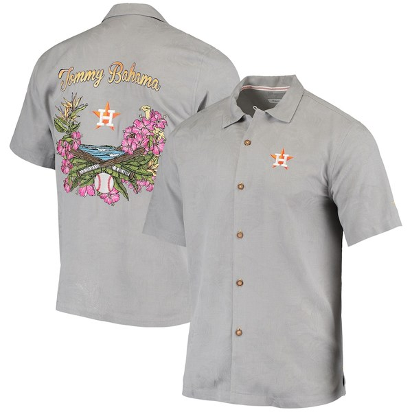 トッミーバハマ メンズ シャツ トップス Houston Astros Tommy Bahama Bay Back Panel Button-Up Shirt Gray