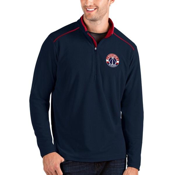 アンティグア メンズ ジャケット&ブルゾン アウター Washington Wizards Antigua Big & Tall Glacier Quarter-Zip Pullover Jacket Navy/Red
