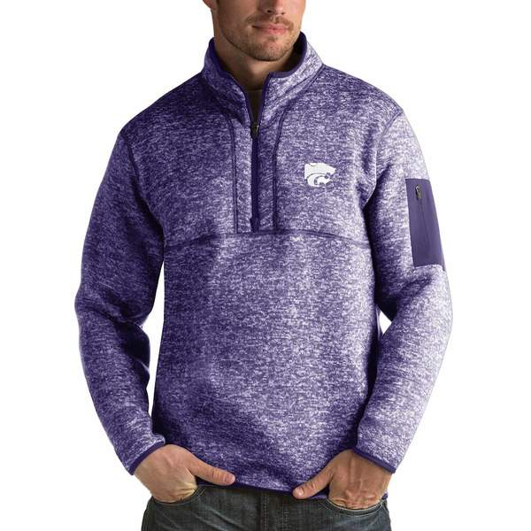 アンティグア メンズ ジャケット&ブルゾン アウター Kansas State Wildcats Antigua Fortune 1/2-Zip Pullover Sweater Heathered Purple
