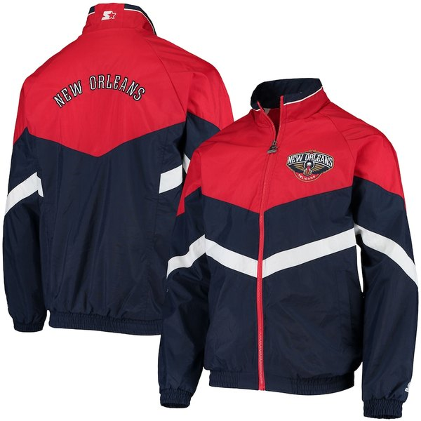 スターター メンズ ジャケット&ブルゾン アウター New Orleans Pelicans Starter Bank Shot Oxford Full-Zip Jacket Navy/Red